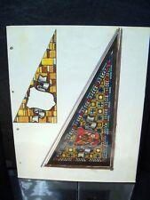Dbl. Stained Glass Window Designs 1946-59 Original Ink Sketch By C. Kelm