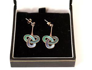 Pair Vintage 1970's Dust Jewellery Norman Grant Silver Enamel Pendant Earrings