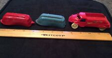 """Lot of 3 Vintage Plastic Toys - Acme Truck 4 3/4"""" Long, 2 Camping Trailers 4"""""""