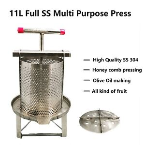 11.5L Full S.Steel S304 Muti-Purpose Press W/H Bottom Plate For Honey Comb/Fruit