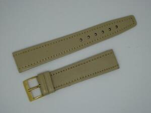 Vintage Men's NOS Tanned Cream,18mm, Opened Ended leather Strap, G/Buckle