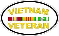"Vietnam Veteran Oval with Ribbon 5.5"" Window Sticker Decal"