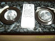 COPPIA FARETTI SATINATI 12v 20w Diam est. 7mm Int 5mm + TRASFORMATORE 60w
