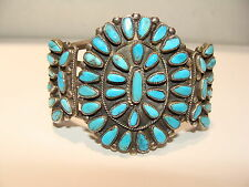 "NAVAJO NATIVE AMERICAN 49 TURQUOISE STONE SILVER BRACELET by ""JMB"" - BEGAY"