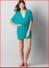 NWT! ANN TAYLOR LOFT Turquoise Shadow Stripe Caftan Dress Cover Up Tunic Sz XS