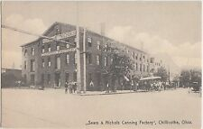 Ohio Postcard CHILLICOTHE Ross County c'10 SEARS & NICHOLS CANNING Company Canal