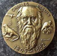 8- STUNNING  BRONZE COMMEMORATIVE MEDAL,CHARLES DARWIN,EVOLUTION THEORY.80 MM.