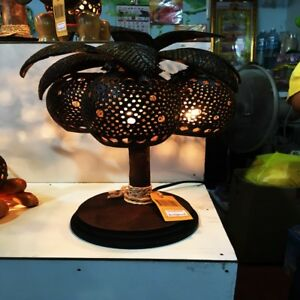 Palm Tree Lamp Coconut Shell Handmade For Home Decoration