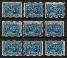 UNITED STATES Sc #550 Mint Hinged/LH Pilgrim 5 C Blue Lot of 9 Stamps