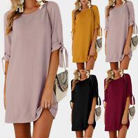 Vintage Femme Col rond Manche Courte Longue Tops Shirt Mini Robe Dresse Plus