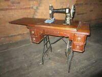 Antique White sewing machine Ornate Oak Cabinet oak leaves front and sides 1910