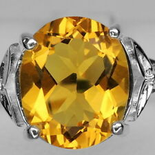 BEAMING! GOLDEN ORANGE CITRINE MAIN STONE 3.29CT. STERLING 925 SILVER RING #8.5
