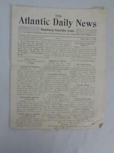 The Atlantic Daily News- Hamburg-America Line Dec 13,1907- Jack London- Hotel Ad