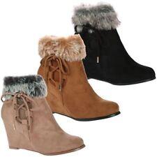 Fur Zip Wedge Boots for Women