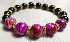 Beautiful Crystal Handmade Glass Bead Bracelet from Venice Floral Purple