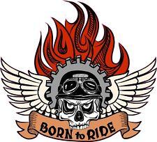 Born to Ride Pegatina, Calcomanía de casco de Motocicleta Estilo Harley Davidson. Calavera a26