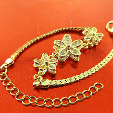 BRACELET BANGLE 18K YELLOW G/F GOLD DIAMOND SIMULATED FLOWER DESIGN FS3A501