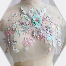 Flower Embroidery Lace Bridal Applique Beaded Pearl Tulle Diy Wedding Dress 3D