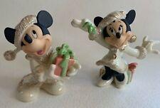 Disneys Minnie's Christmas Wish & Christmas with Mickey Figurines by Lenox Nib