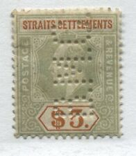 Straits Settlements KEVII 1904 $5 perfin mint o.g. hinged