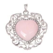Cuore Quarzo Rosa Pendente branello di fascino per la collana di modo A5W3 L0N7