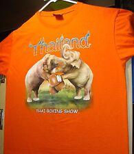 Thailand Souvenir T Shirt ADULT Size Large Tee Thai Boxing Show Elephants Asia