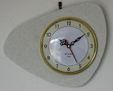 NEW 24cm Atomic Style Wall Clock - Retro Vintage 70s French Handmade Wooden Gift