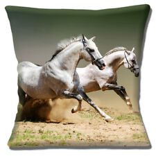 Grey Horses Cushion Cover Two White Galloping 16 inch 40 cm