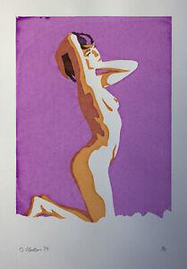 Nude Girl Screen print hand made original design female woman art figure stretch