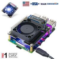 Raspberry Pi 4B RGB Cooling Fan Cooler Hat RPI GPIO OLED Display for 4B/3B+/3B