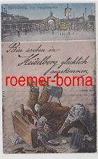 74633 Ak Humor Bin soeben in Heidelberg ... angekommen - Der Hauptbahnhof 1918