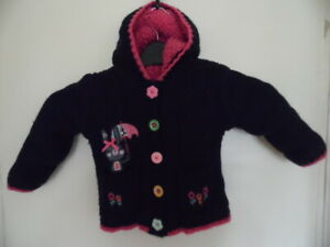 Girls Blue & Pink Long Sleeve, Button Up, Chunky, Hooded Cardigan Size 2-3 Years