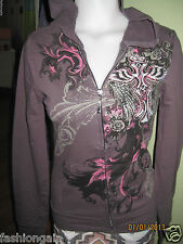 NWT PLATINUM PLUSH SEXY COTTON TATTOO PRINT RHINESTONE TRACKSUIT SET, SIZE S