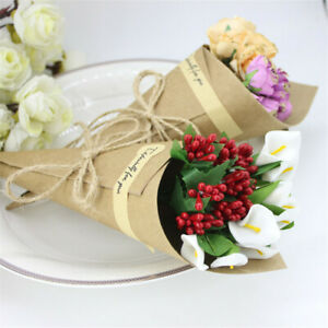 50Pcs Wedding Confetti Celebration Cones Kraft Paper Petals Candy Party Favors