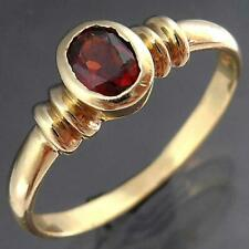 Classic Almandine GARNET & 9k Solid Yellow GOLD SOLITAIRE DRESS RING Sz M 1/2
