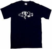 Black Grouper Fish Logo Mens Tee Shirt Pick Size Color Small-6XL