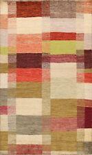 Checkered Gabbeh Kashkoli Oriental Area Rug Contemporary Hand-knotted 6x8 Carpet