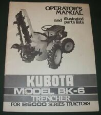 Kubota Bk 6 Trencher Parts Operation Amp Maintenance Manual Book B6000 Tractor