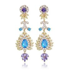 E1 The Tia Gorgeous Earrings Made With Swarovski Crystals Gold Purple Blue $128