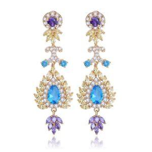 Made Using Swarovski Crystals The Tia Gorgeous Gold Purple Blue $128 S11