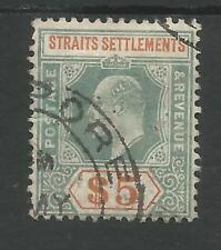 STRAITS SETTLEMENTS SG138a THE 1908 EVII $5 DULL GREEN&BROWN ORANGE USED C.£180