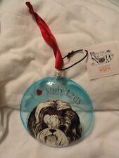 Shih Tzu Christmas Ornament Sun Catcher I heart love Shih Tzus