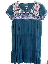 Johnny Was Amal tier Peasant cotton granite blue short sleeve Tunic/dress S,