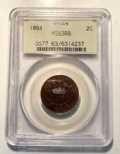 1864 Two Cent Piece PCGS MS63 Red-Brown Old Green Holder