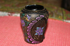 Original Miniature Hand Painted Asian Wood Resin Vase-Colorful Patterns-Detailed