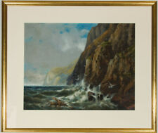 Edgar West - Signed 19th Century Gouache, Shipwreck in a Rocky Seascape