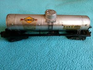 Vintage Postwar Lionel Lines 6555 Sunoco Single Dome Tank Car All Metal B