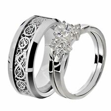 Steel Cz Celtic Dragon Scroll Tungsten Men His & Her Wedding Ring Sets Stainless