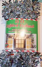 12 FT MULTI COLORED LIGHT LIT LED SILVER GARLAND PRE-LIT LIGHTED CHRISTMAS