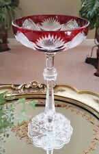 FABERGE Imperial CZAR TSAR Ruby Red Cut to Clear Crystal Champagne Saucer SIGNED